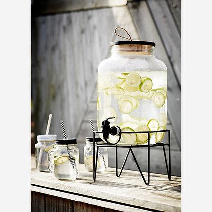 Fontaine à boisson en verre 8L support en metal design - Madam Stoltz