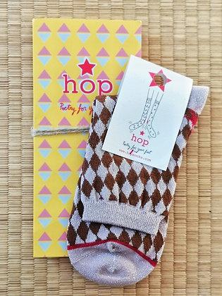 Chaussettes à paillettes arlequin rose marron - Hopsocks