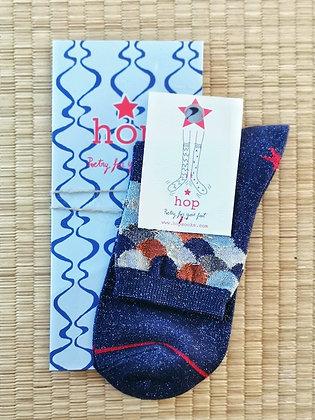 Chaussettes pour femme bleues - Chaussette paillette - Marseille