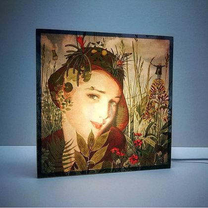 Lampe vintage - Femme des années 50 dans un univers bucolique