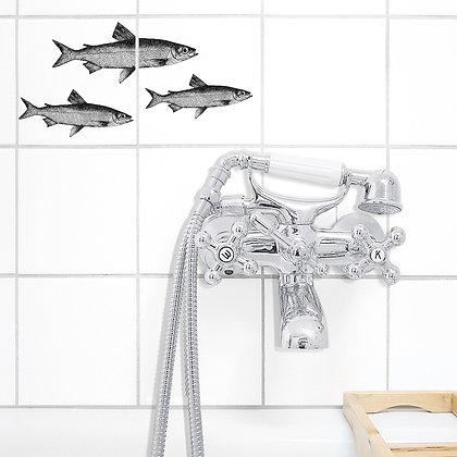 Stickers trois poissons - Autocollant pour carrelage thème de la mer - Marseille