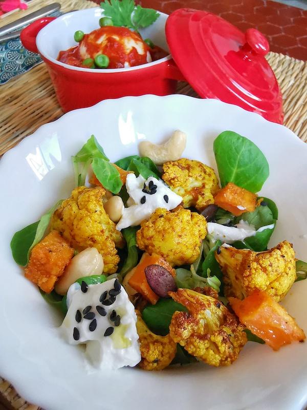 Salade Aloo Chou fleur et patate douce - brunch Inde - Marseille