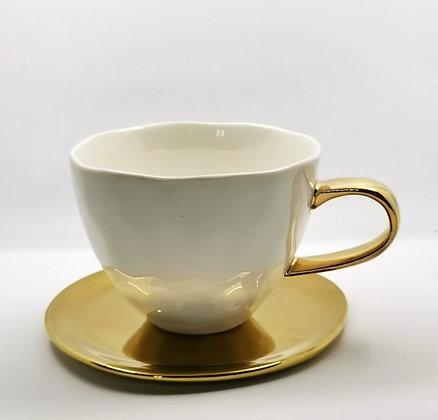 Cadeau pour teatime chic - Sous tasse dorée pour tasse à thé -