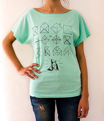 T-shirt origami pour femme couleur vert menthe - Marseille