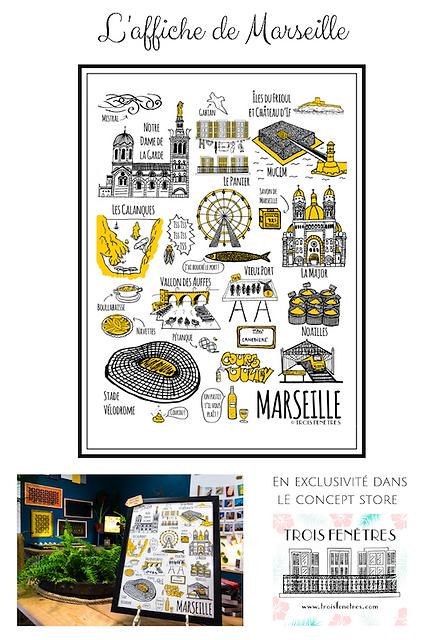 Affiche Marseille - Trois Fenetres - LPM