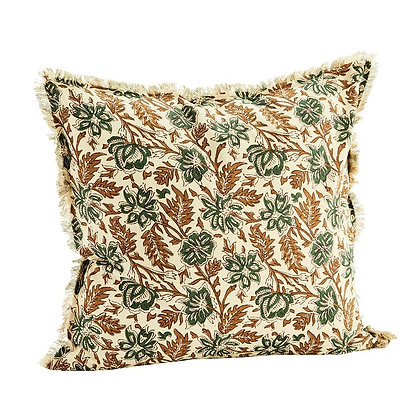 Housse de coussin imprimé fleuri indien vert carmin à franges 50 x 50 cm - Madam Stoltz
