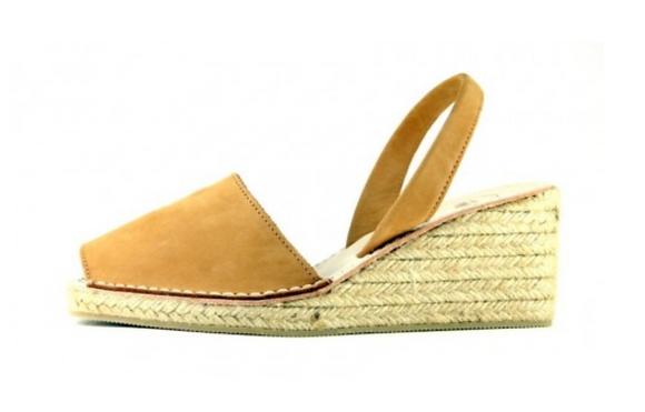 Sandales compensées camel à talon - Sandales en cuir et semelle en jute - Marseille