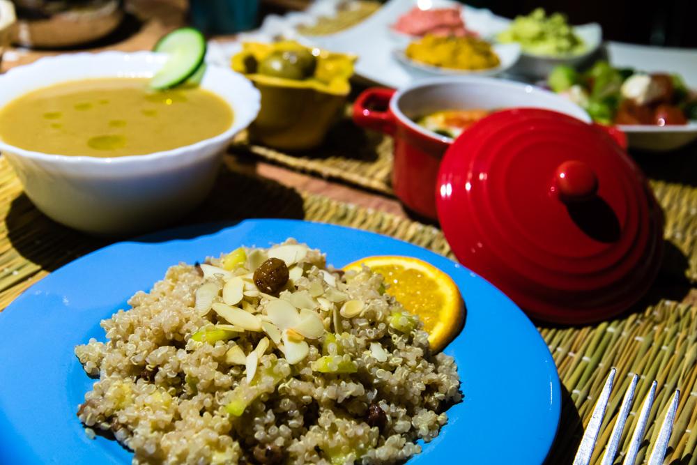 Gazpacho and quinoa tabouleh