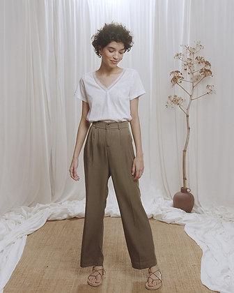 Pantalon Celyan de Grace et Mila - Pantalon large kaki taille haute - Marseille