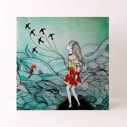 Lampe illustrée d'une fille emportée par un cerf-volant - Univers onirique