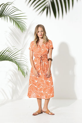 Robe couleur corail - Robe portefeuilletrès fluide d'un style très estival - Collection Totem - Marseille