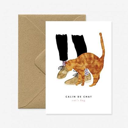 Carte de voeux Calin de chat - Marseille