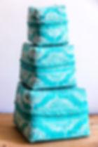 Boite à offrande bambou turquoise avec dessin blanc - Marseill