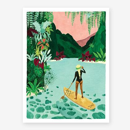 Poster aquarelle Paddle sous les tropiques - Femme, paddle, ciel rose et jungle