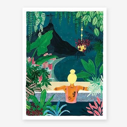 Affiche aquarelle Voyageuse à Rio, ambiance jungle chic - Wanderlust