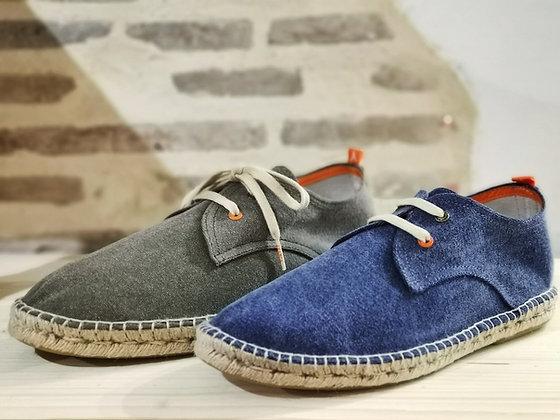 Espadrilles pour homme à lacets - en tissu kaki ou bleu