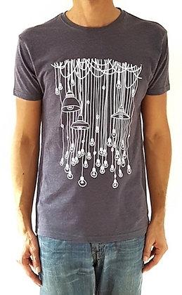 T shirt original pour homme - Marseille - Ampoules edison - Bleu