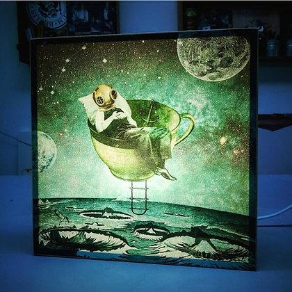 Veilleuse Homme sur La Lune - Déco chambre enfant ou steampunk