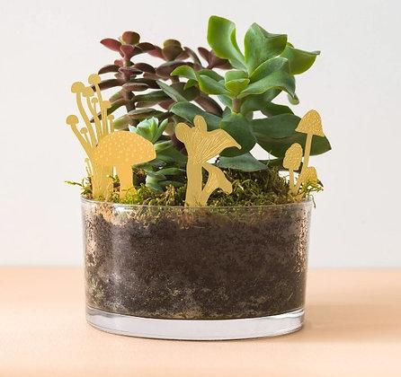 Champignons en laiton doré - Décoration terrarium pour plantes | Marseille