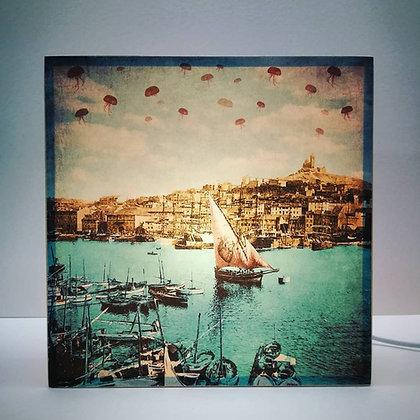Boite lumineuse du Vieux-Port de Marseille - Illustration ancienne de Marseille