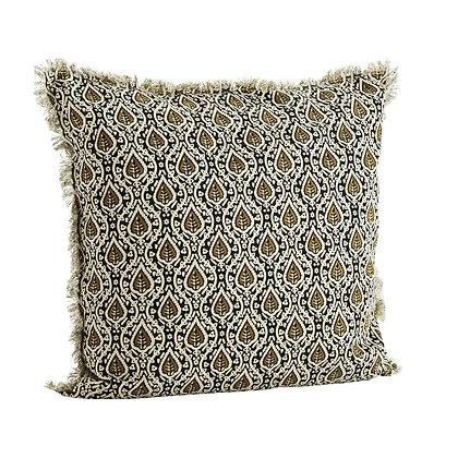 Housse de coussin Madam Stoltz - Coussin motif batik indien à franges 50 x 50 cm