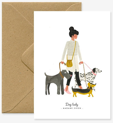 Carte de voeux Madame Chien - The Lady dog - All the ways to say