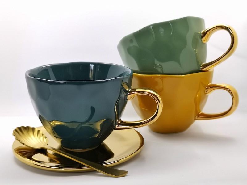 Cadeaux amateurs de thé - Tasse à thé anglaise à anse dorée