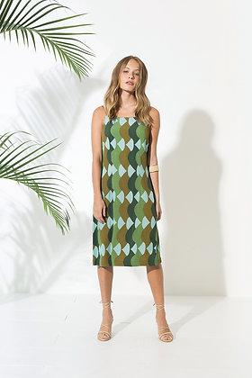 Robe Summer Green - Robe retro avec motifs psychédéliques kaki - Rayonne 100% viscose - Marseille