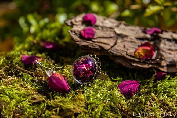 Bague fleurs séchées rose