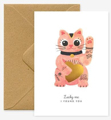 Carte de voeux Lucky cat - Joli chat rose porte bonheur - Marseille