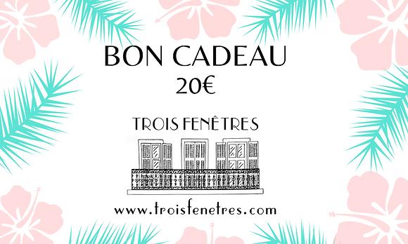 Bon cadeau 20 euros Trois Fenêtres - Boutique cadeaux Marseille