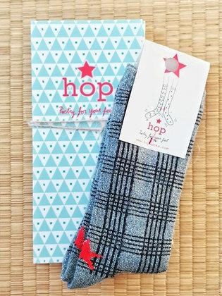 Chaussette pour femme quadrillée en mohair grises et paillettes - Hop Socks Marseille