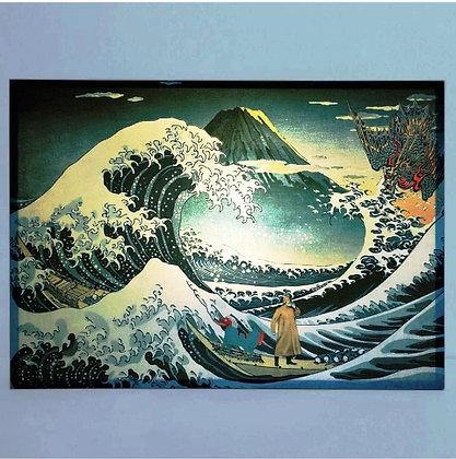 Lampe La Grande Vague de Kanagawa - Estampe japonaise du Mont Fuji d'Hokusai