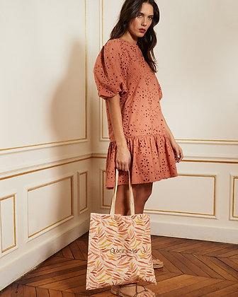 Robe broderie anglaise Marsala - 100% coton - Robe couleur Marsala
