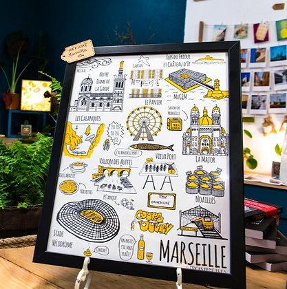 Poster Marseille - Affiche Marseille, exclusivité Trois Fenêtres au Panier