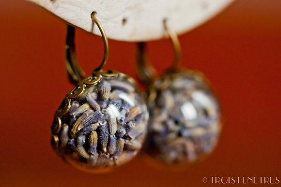 Bijoux fleur de lavande provençal - Boucle d'oreilles goutte - Marseille
