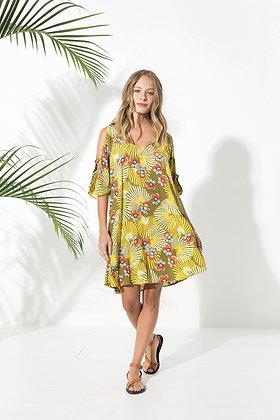 Tunique boheme chic - Robe Primavera Yellow - Motifs florauxretro jaunes - Marseille