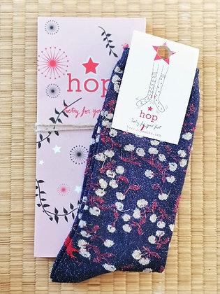 Chaussettes pour femme motif cerises et bleu paillettes - Hop socks -