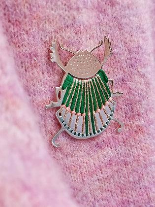 Broche tissée scarabée qui revisite le style égyptien antique - Broche or plaqué - Marseille