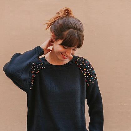 Pull bleu tricoté avec pompons pour femme  - Marseille