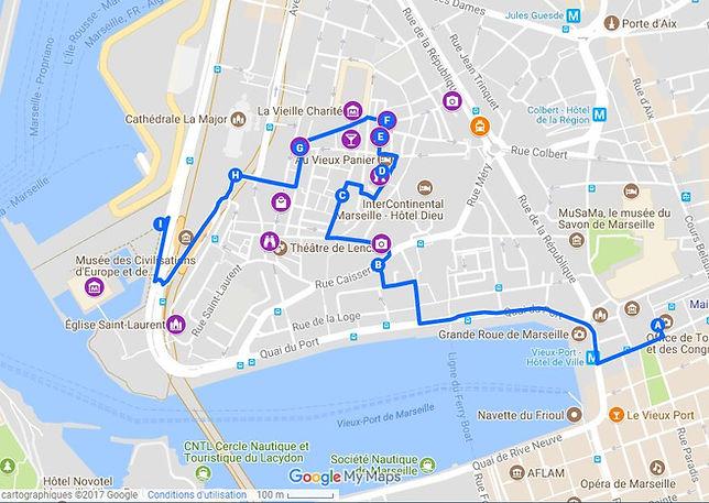 Le Panier Marseille - Plan, carte google maps et itinéraire conseillé n°3