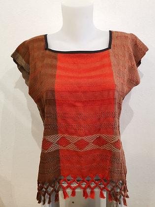 huipil orange, haut pour femme, tissage et crochet - artisanat Mexique