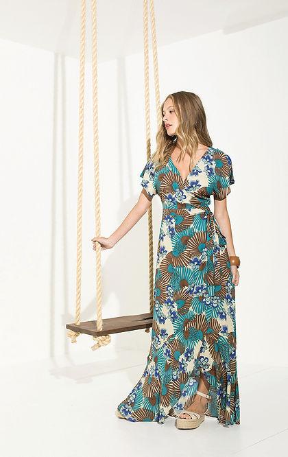 Robe boho chic bleu - Une robe de style vintage - boutique Marseille Trois Fenêtres