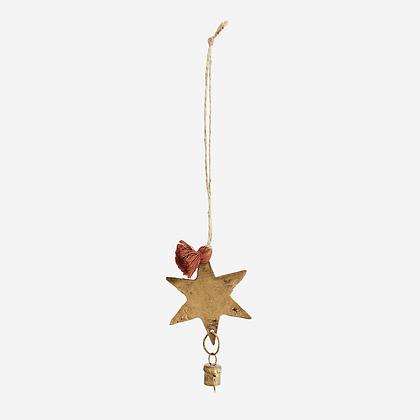 Etoile metal doré à suspendre avec clochette - Décoration Noel Bohème