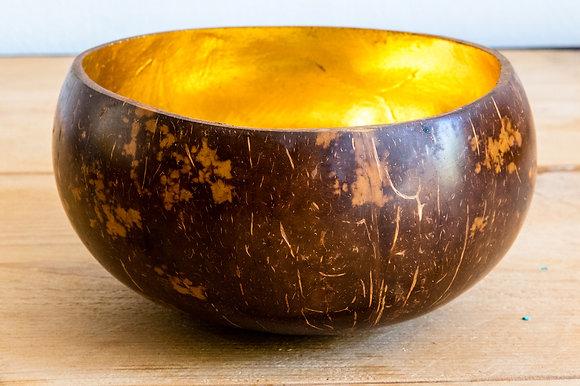 Bol en bois de coco doré
