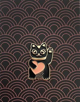 Pin's Lucky Cat - Pins chat chinois noir et rose poudré - Cadeau porte bonheur