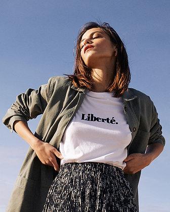 t-shirt femme blanc imprimé Liberté - Ciao Grace et Mila - tshirt vintage femme - Marseille