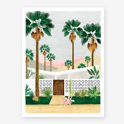 Poster retro maison de rêve à Palm Spring - Reproduction aquarelle - Livraison