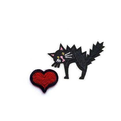 Ecusson Coeur et Chat - Love cats -  Macon & Lesquoy - Cadeau original - Marseille