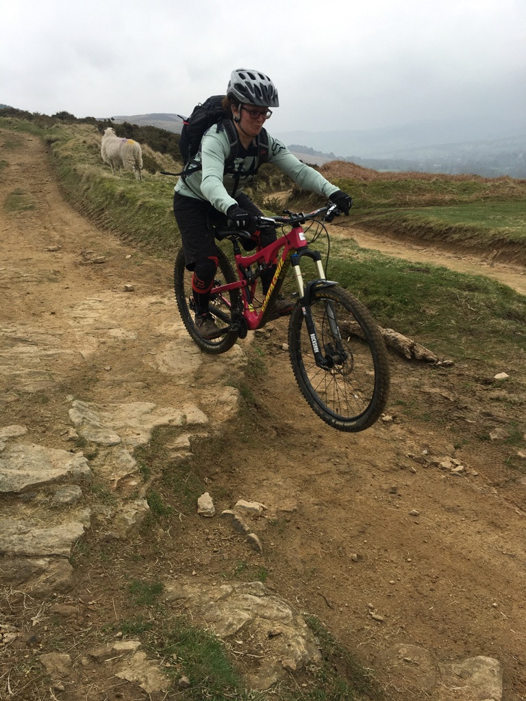 Getting air on the ladies MTB course